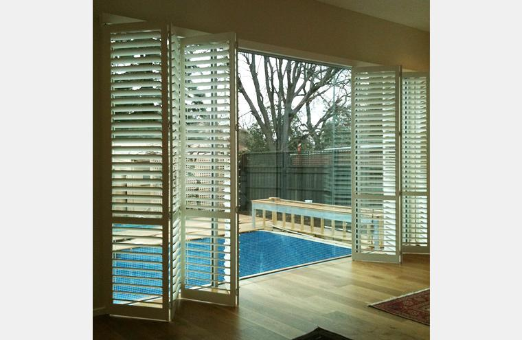 Custom Made Frameless Track Bi Fold Shutters Prahran Melbourne